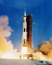 The Saturn V rocket launched Apollo 11 and her crew on its journey to the Moon, 16 July 1969.