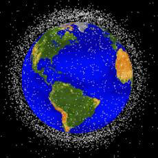 This computer image of Earth shows orbiting layers of space junk being observed by NASA