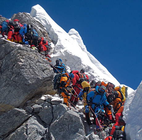 Picture of climbers lined up at the Hilary Step